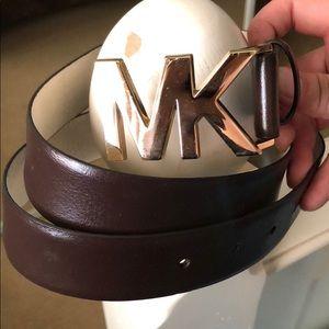 MK Michael Kors Brown Genuine Leather Belt